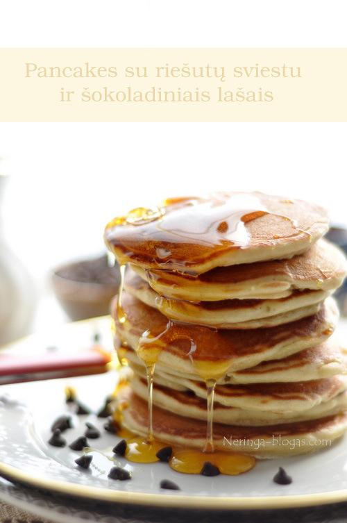 pancakes su riesutu sveistu ir sokolado laseliais